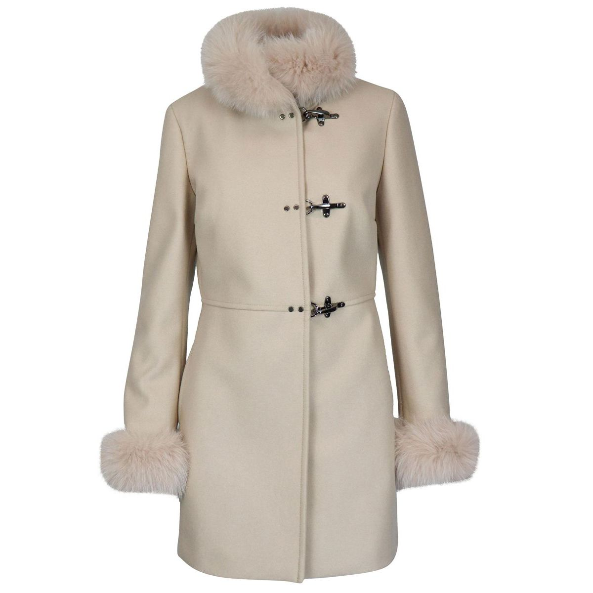 Cashmere blend coat with fox collar and cuffs Cream Fay
