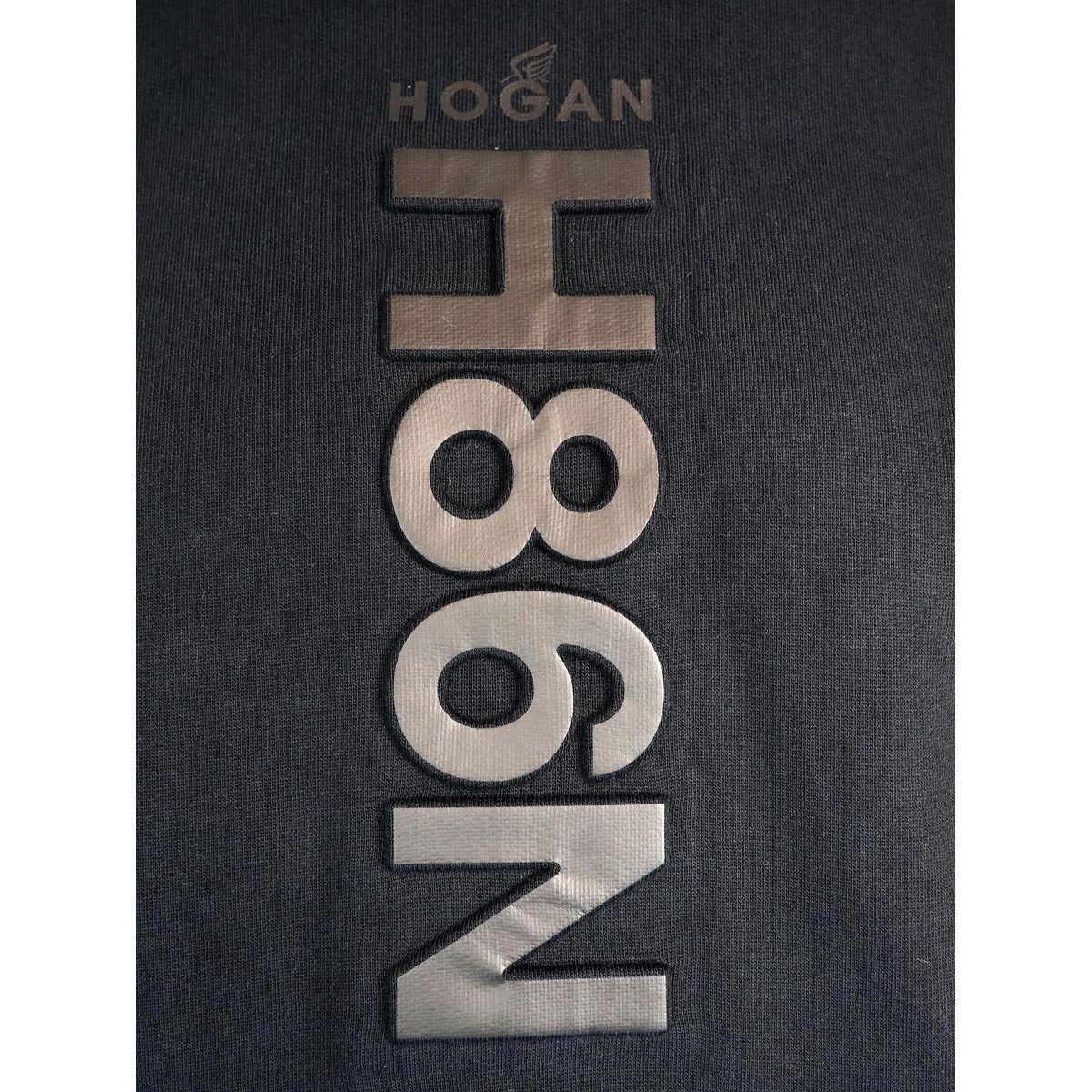 Cotton sweatshirt with hood and front pocket Black Hogan