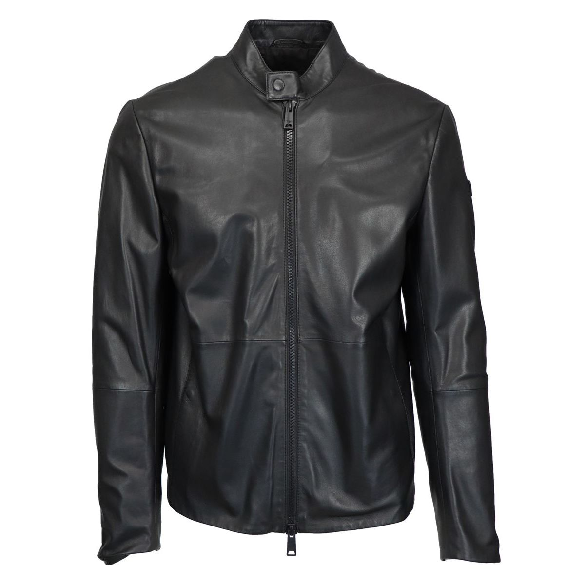 Full zip leather jacket Black Emporio Armani