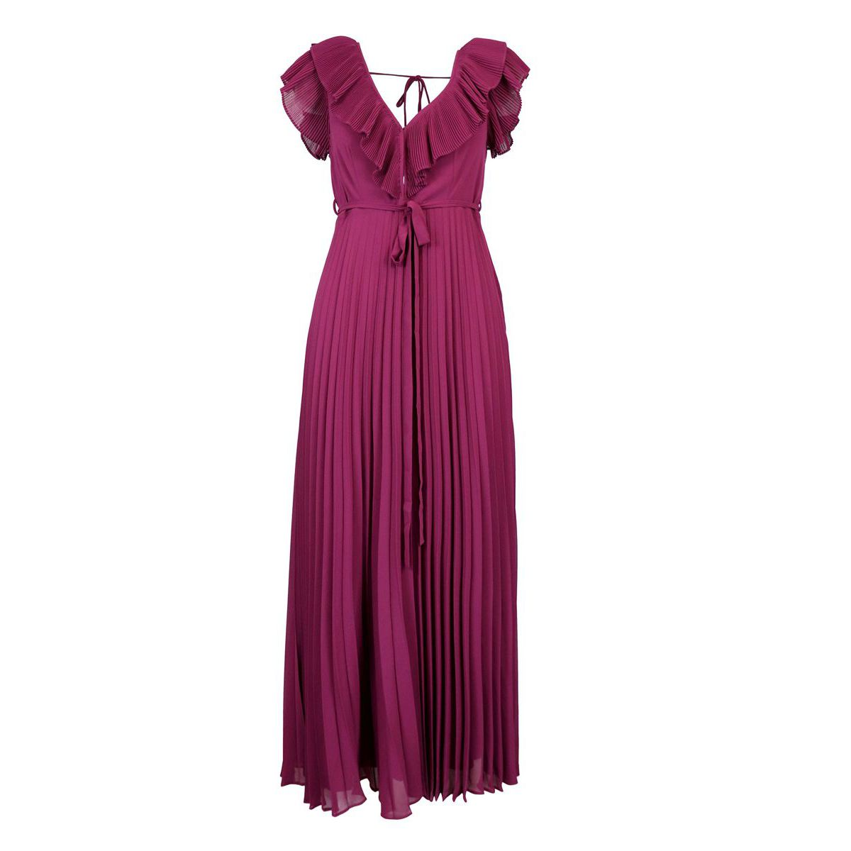 Long pleated dress with V-neck and rouches Bordeaux Twin-Set