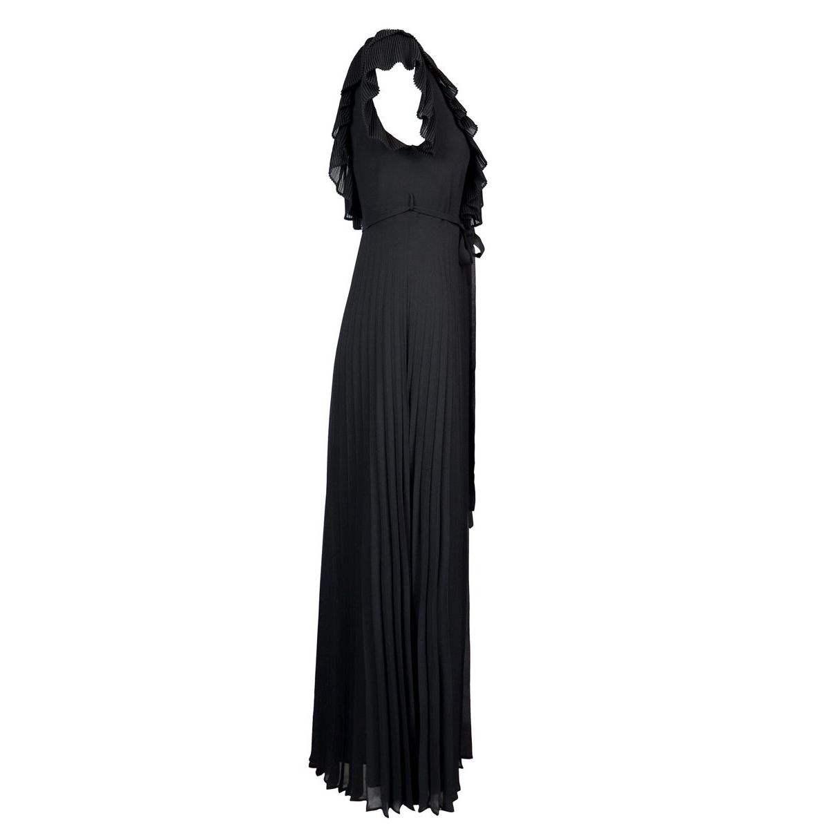 Long pleated dress with V-neck and rouches Black Twin-Set