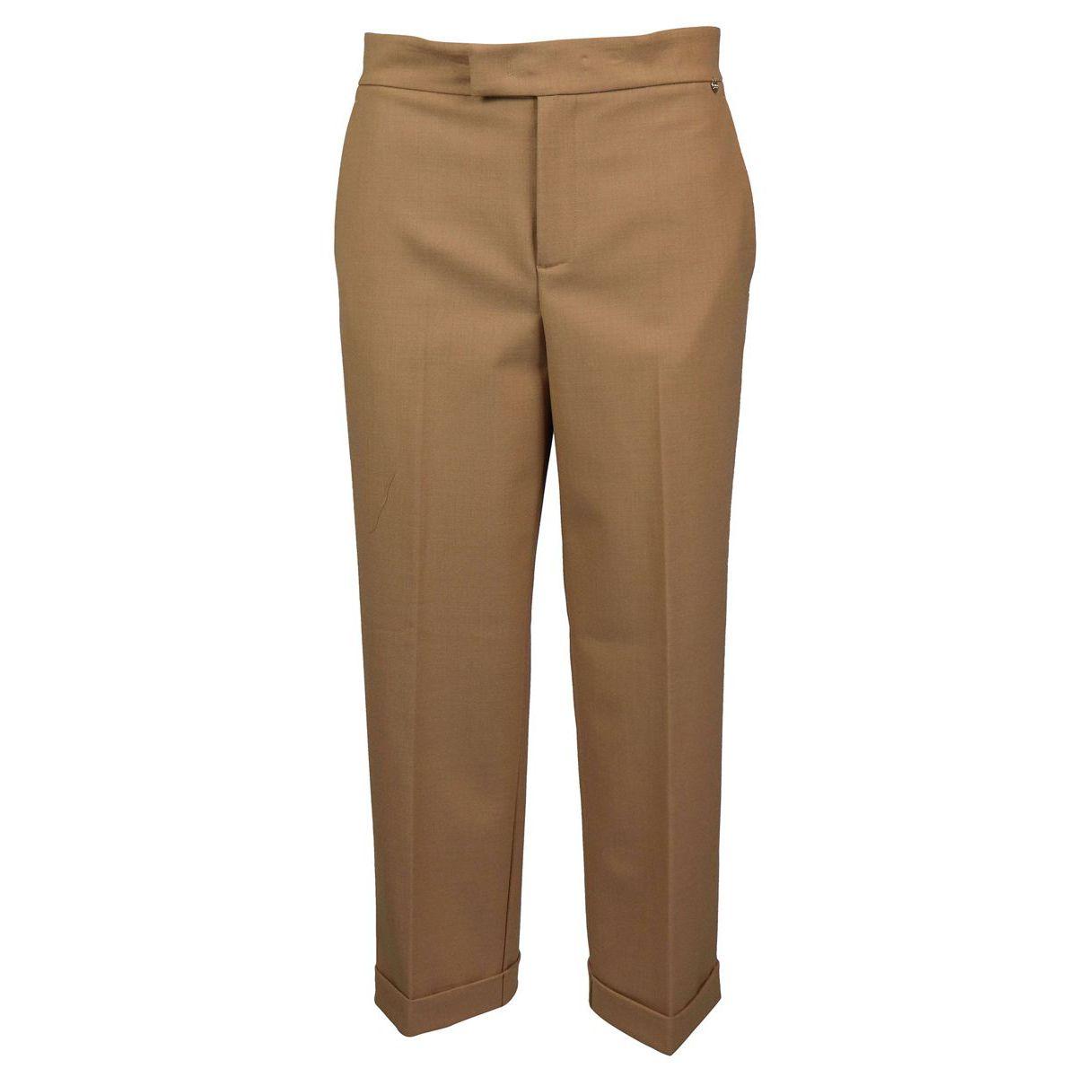 Pantalon en laine mélangée avec retournement Chameau Twin-Set