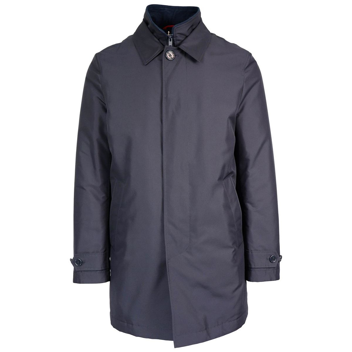 Morning medium coat in waterproof nylon with vest Blue Fay