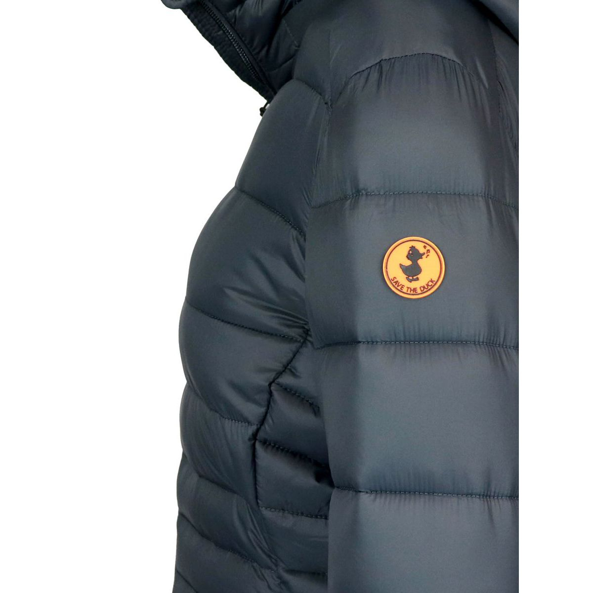Long nylon down jacket with hood Blue Save the duck