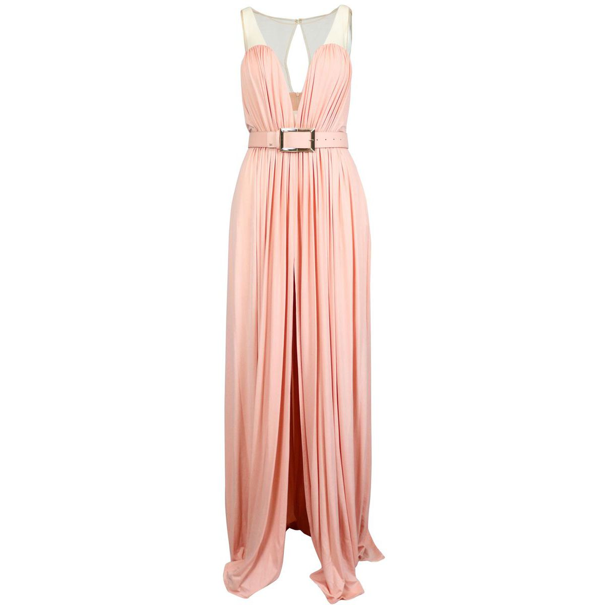 Long dress with drop neckline and tulle insert Antique pink Elisabetta Franchi