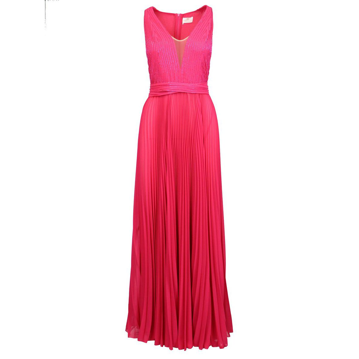 Long pleated dress with embroidery Fuchsia Elisabetta Franchi