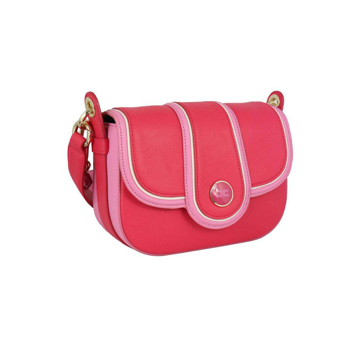 Two-colored saddle bag with logo Fuchsia Elisabetta Franchi