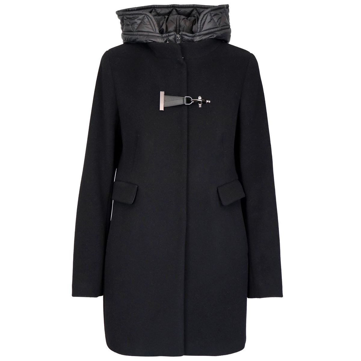 DOUBLE FRONT coat with nylon inserts Black Fay