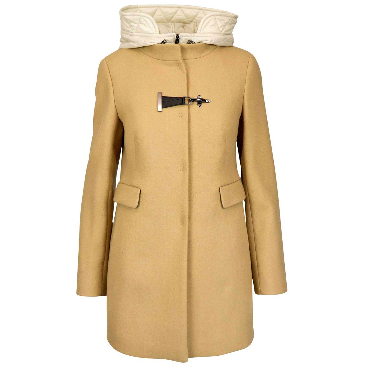 Double front wool coat with hood and hook Camel Fay