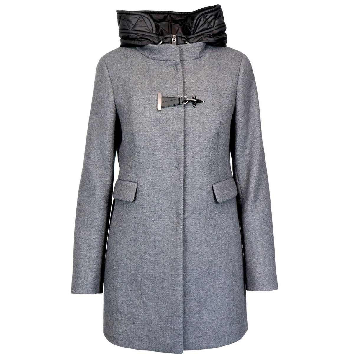Double front wool coat with hood and hook Medium gray Fay