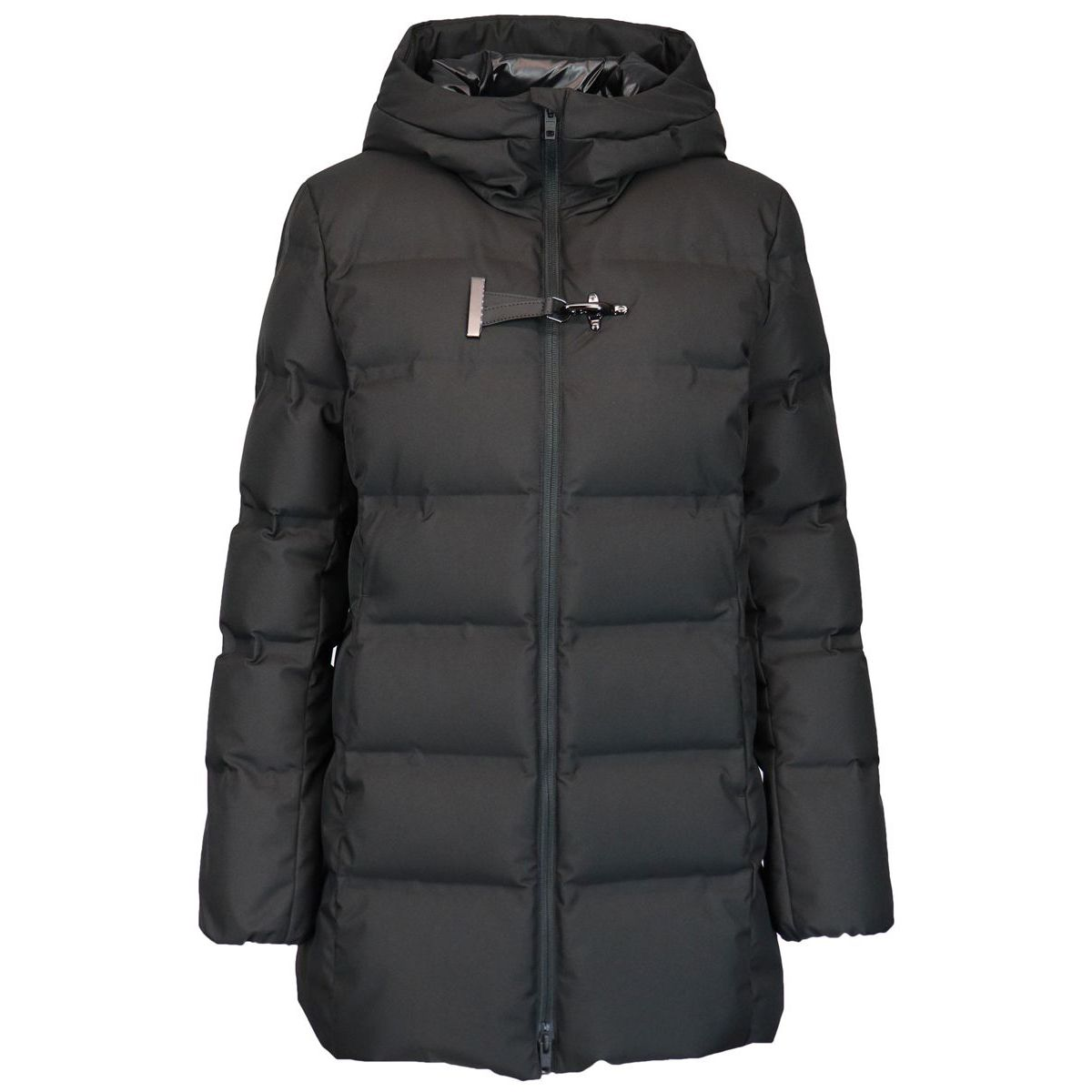 Quilted nylon quilted jacket with hood and frog Black Fay