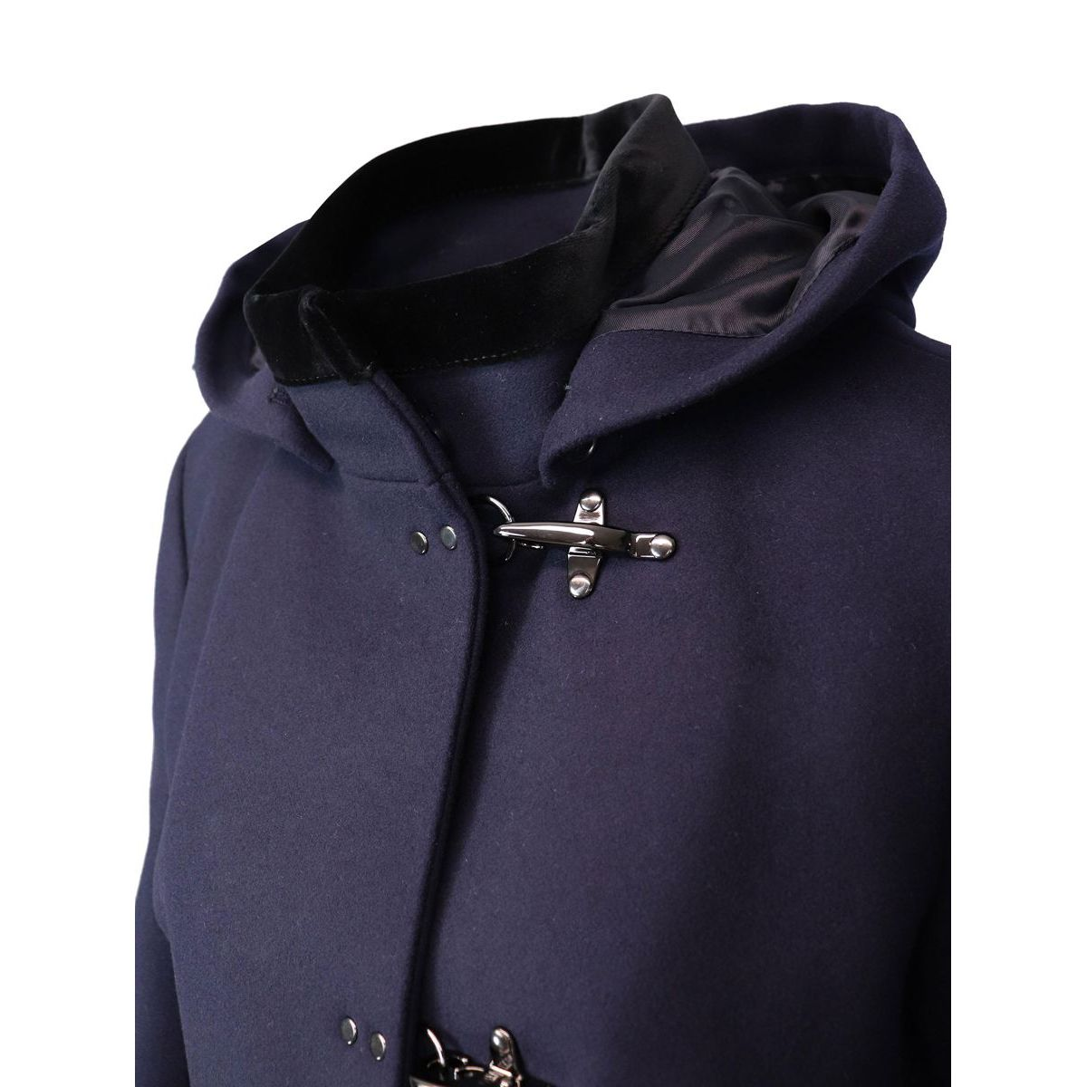 VIRGINIA coat with hood and 3 cashmere mix hooks Night blue Fay