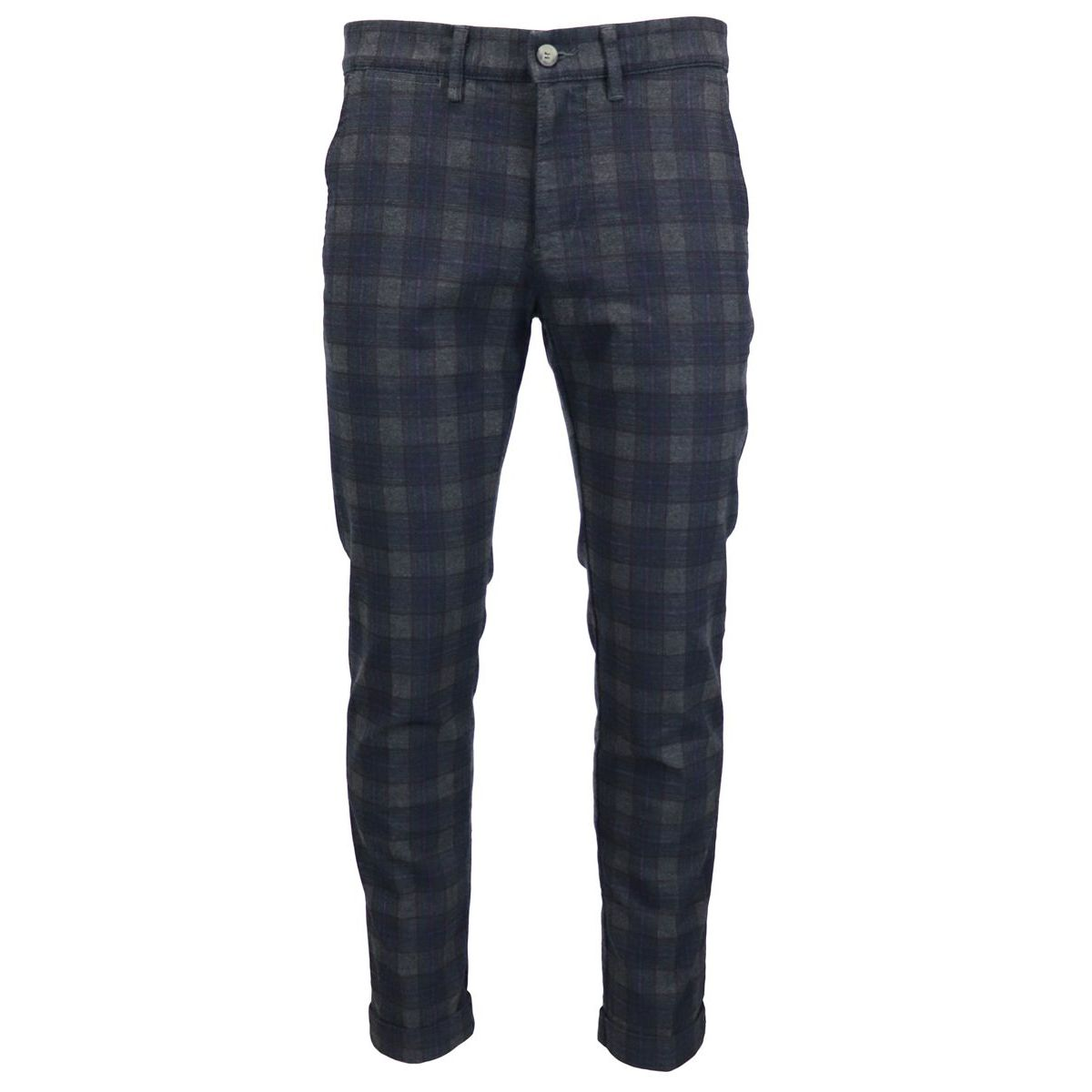 Cotton blend trousers with america pockets and checked pattern Green Jeckerson