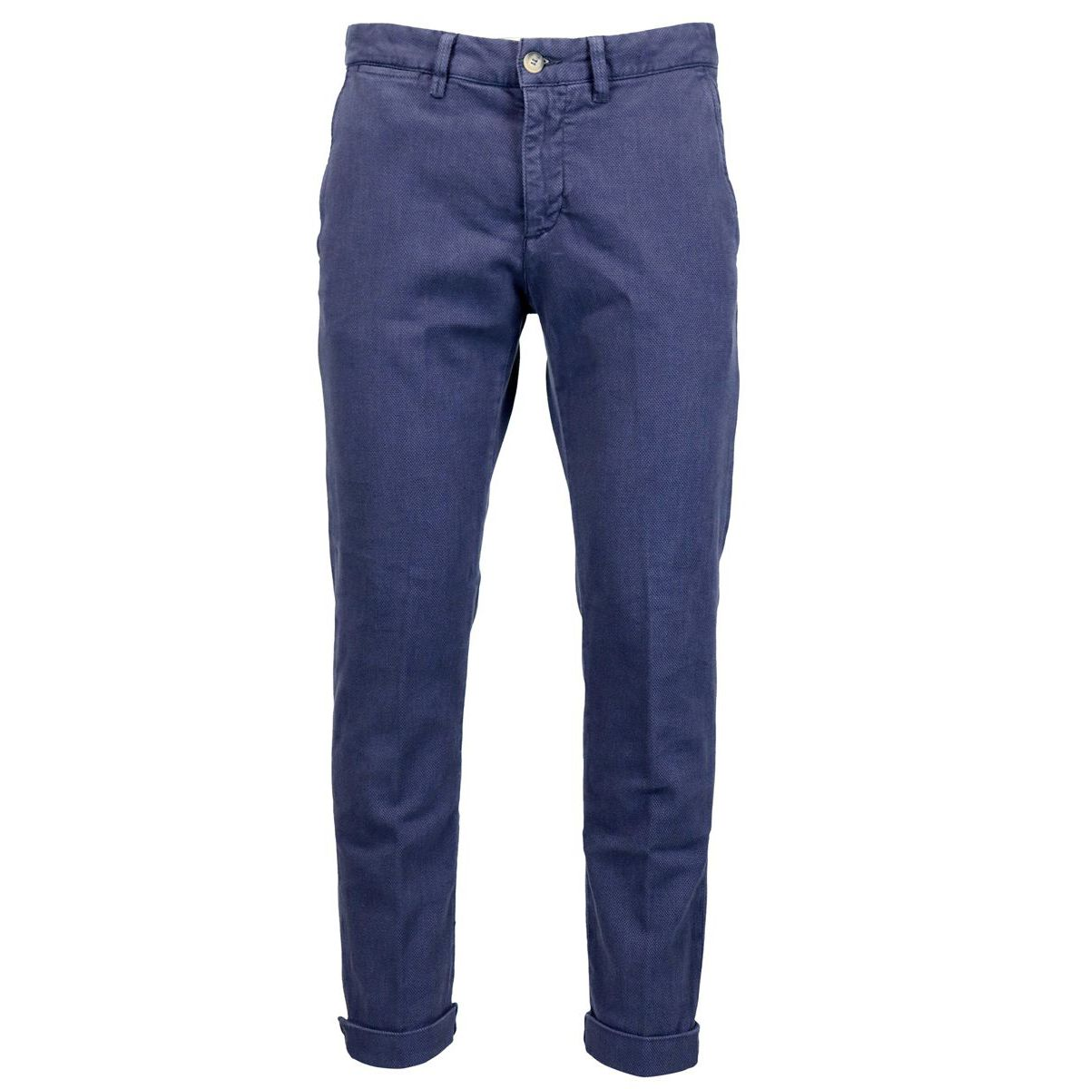 Micro patterned cotton trousers with america pockets Blue Jeckerson