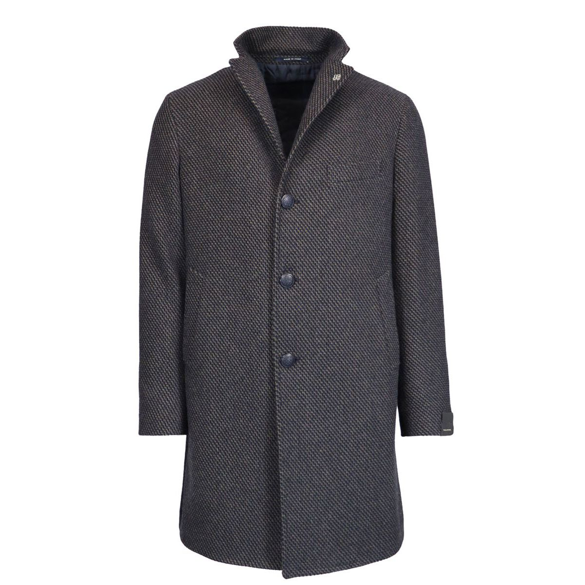 Single-breasted wool blend coat with micro-pattern Brown Tagliatore