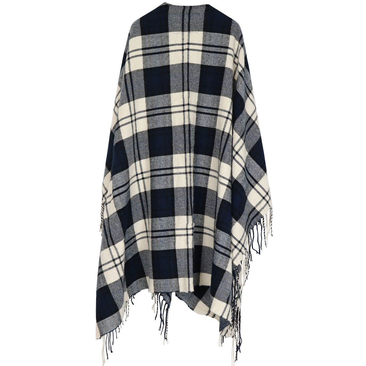 Cape with fringe Cream blue Woolrich