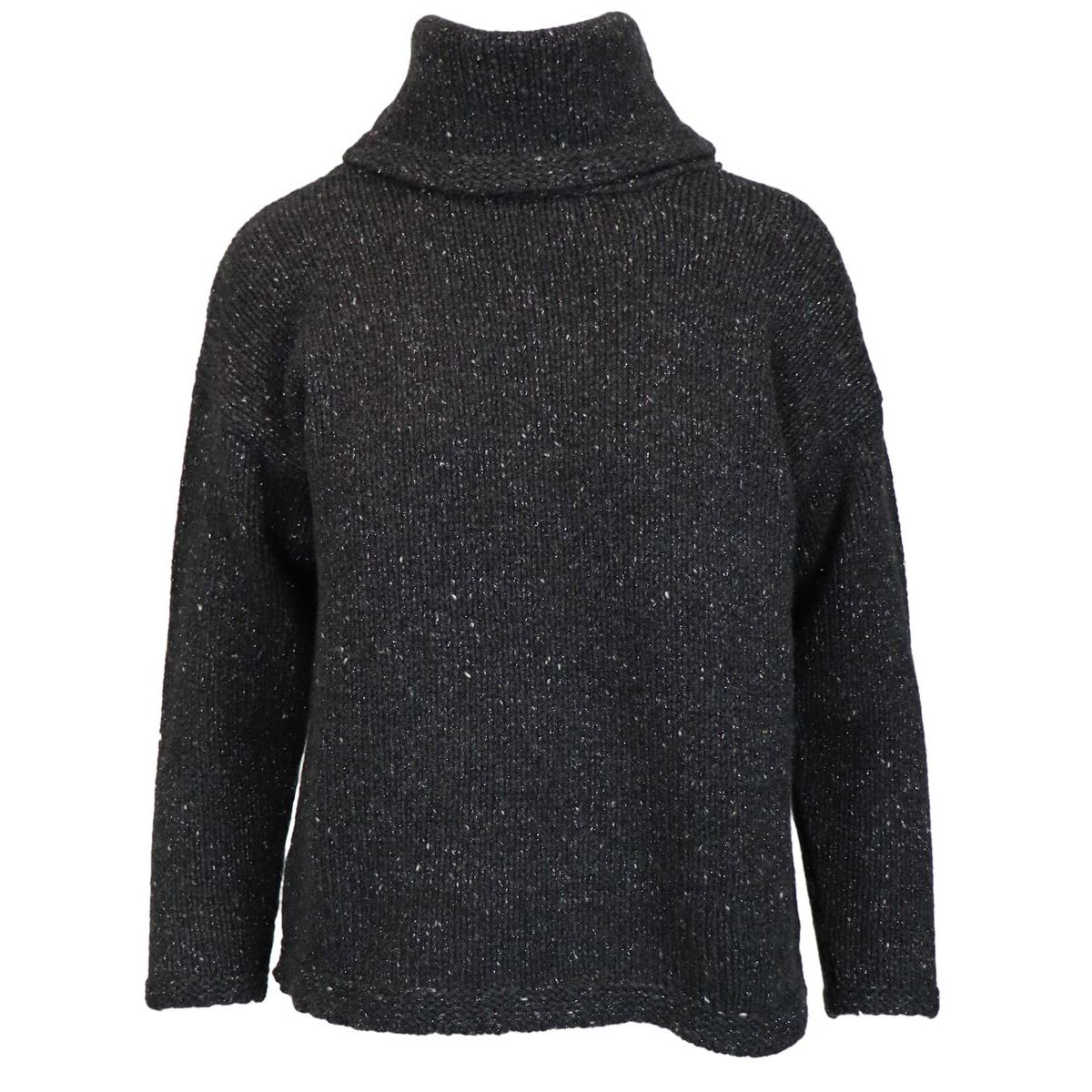 Turtleneck sweater in cashmere with three-quarter sleeves Anthracite Gran Sasso
