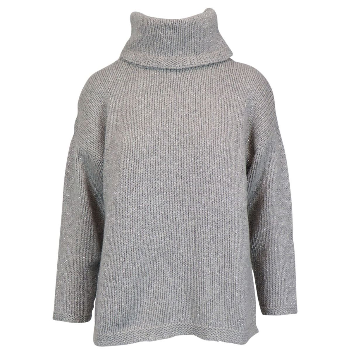Turtleneck sweater in cashmere with three-quarter sleeves Light grey Gran Sasso
