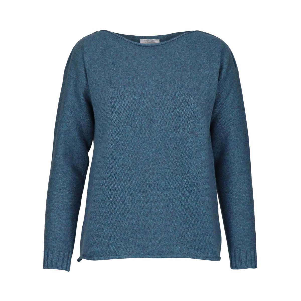 Sailor neckline pullover in cashmere shaved with ribbing Teal Gran Sasso
