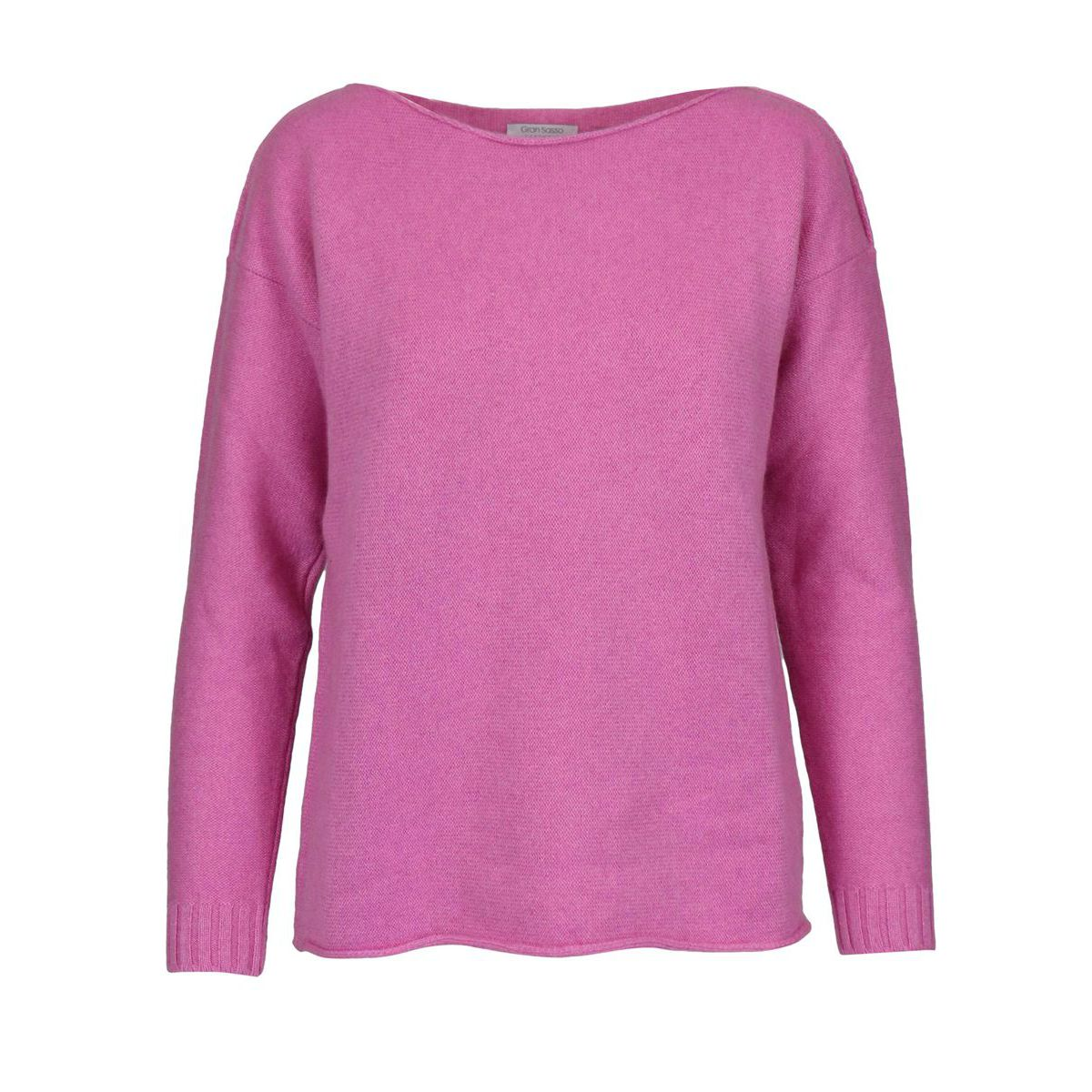 Sailor neckline pullover in cashmere shaved with ribbing Pink Gran Sasso