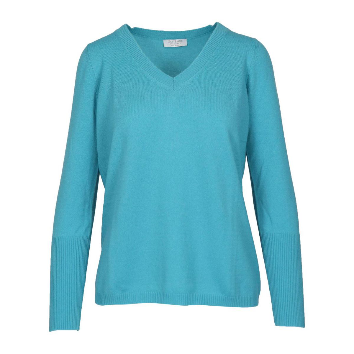 Basic shaved cashmere pullover Turquoise Gran Sasso