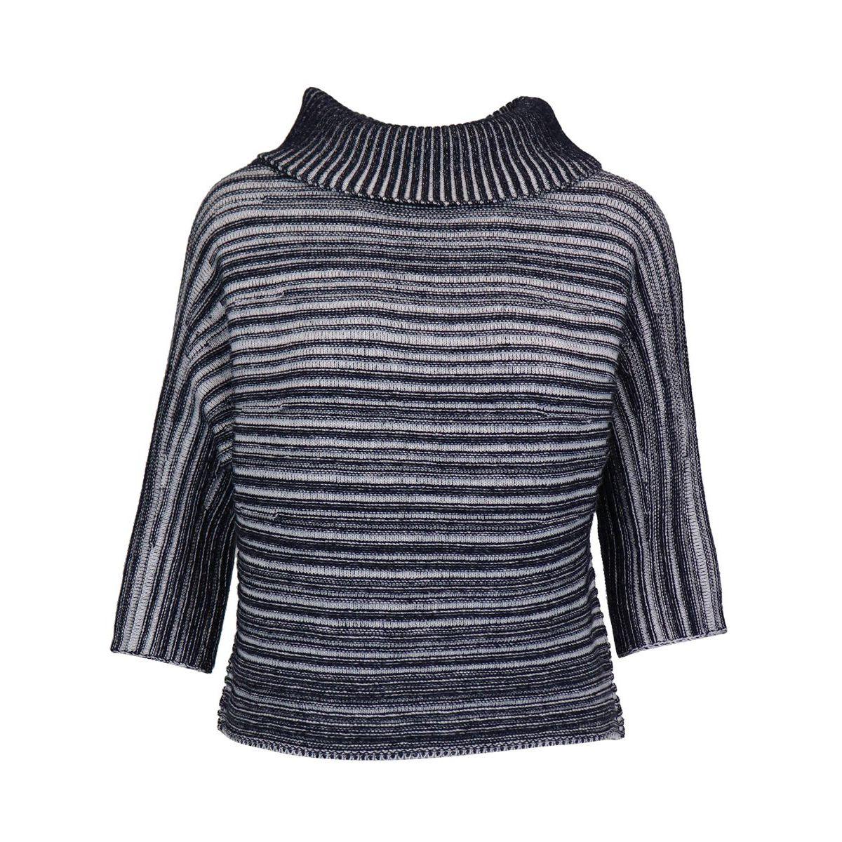 Three-quarter sleeve sweater in virgin wool White black Gran Sasso