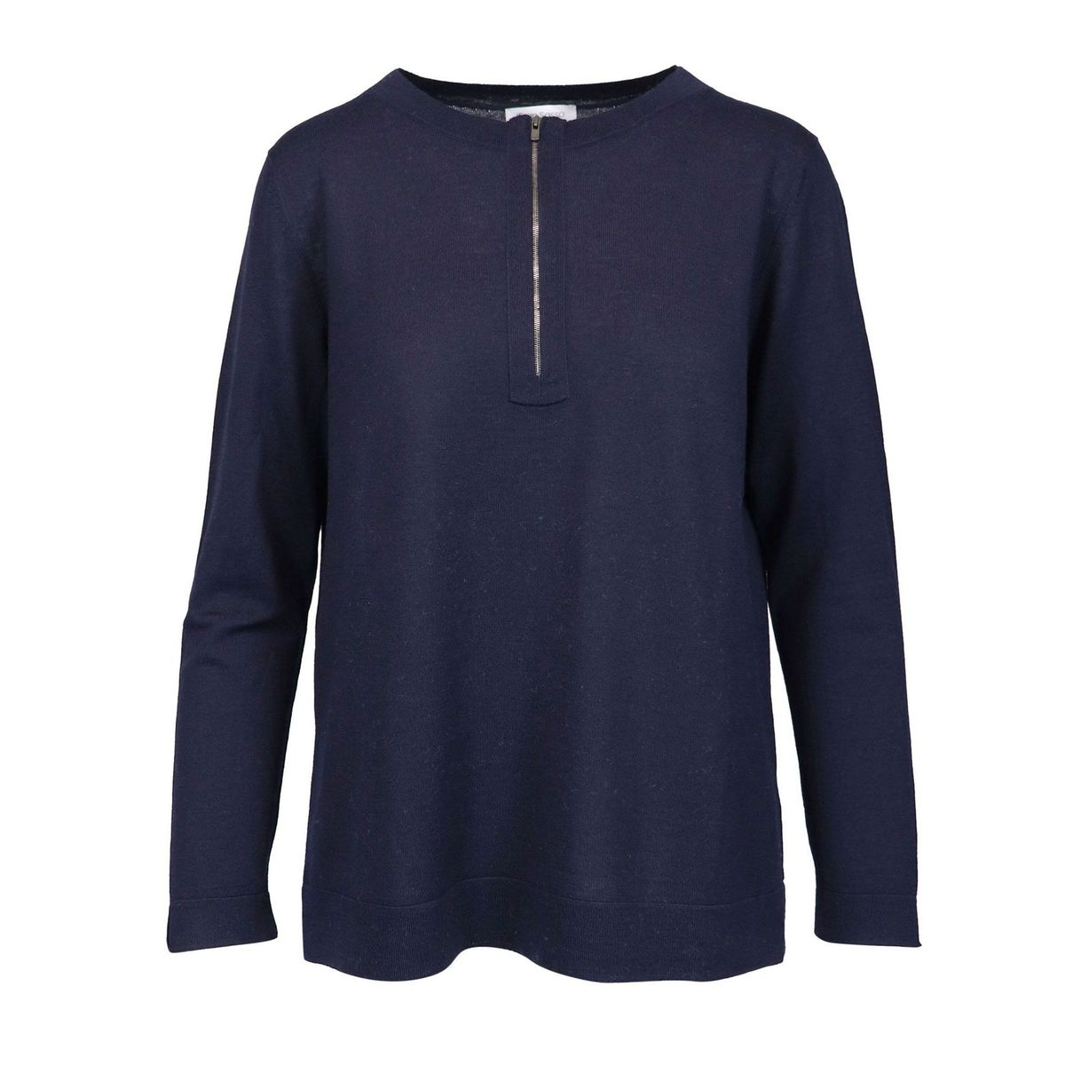 Wool crewneck sweater with zip Blue Gran Sasso