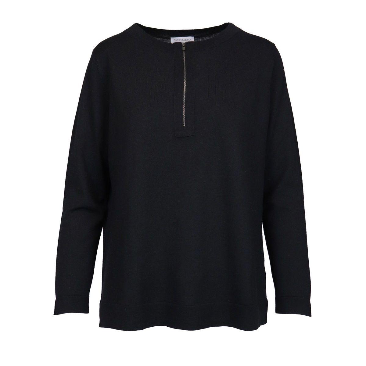 Wool crewneck sweater with zip Black Gran Sasso
