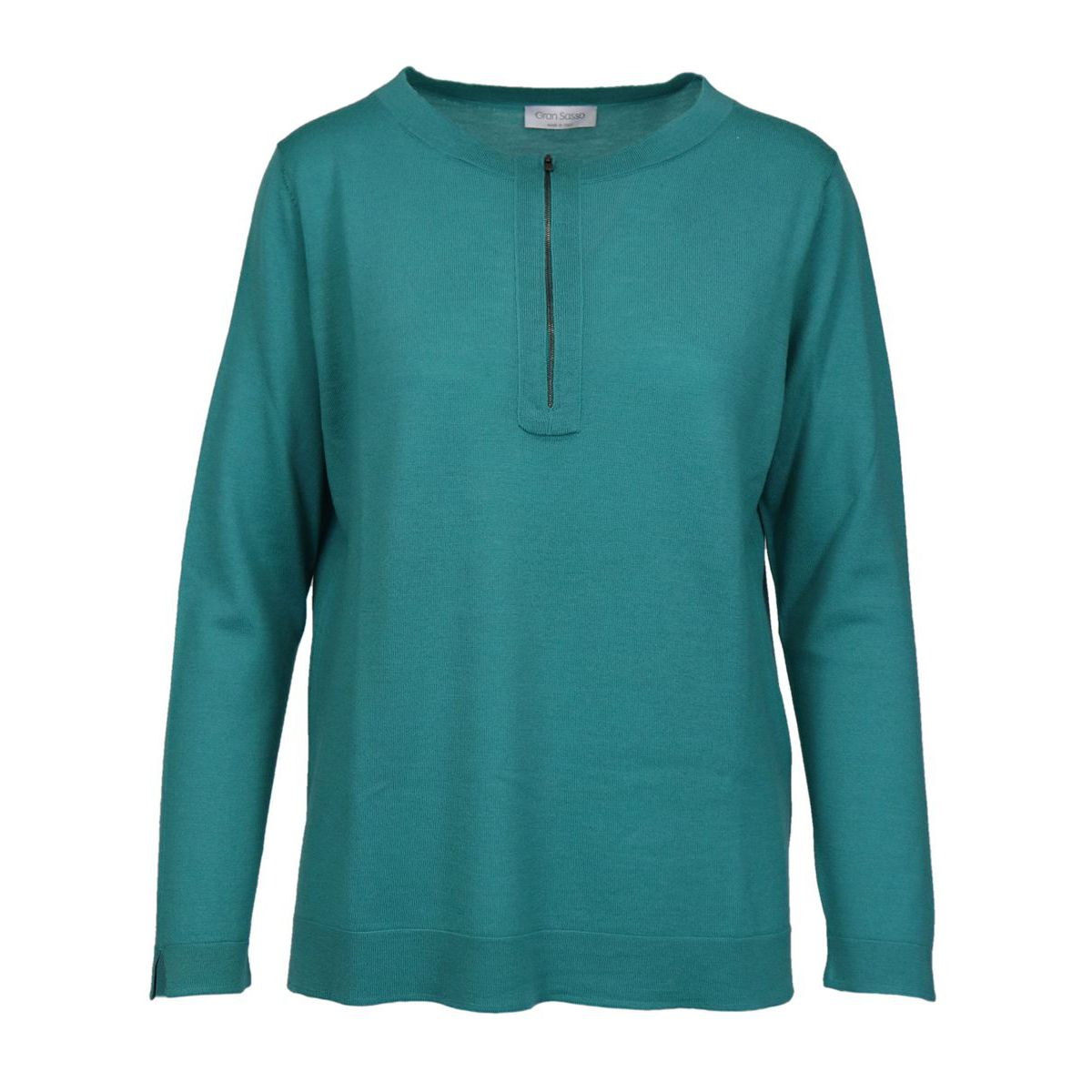 Wool crewneck sweater with zip Mint green Gran Sasso