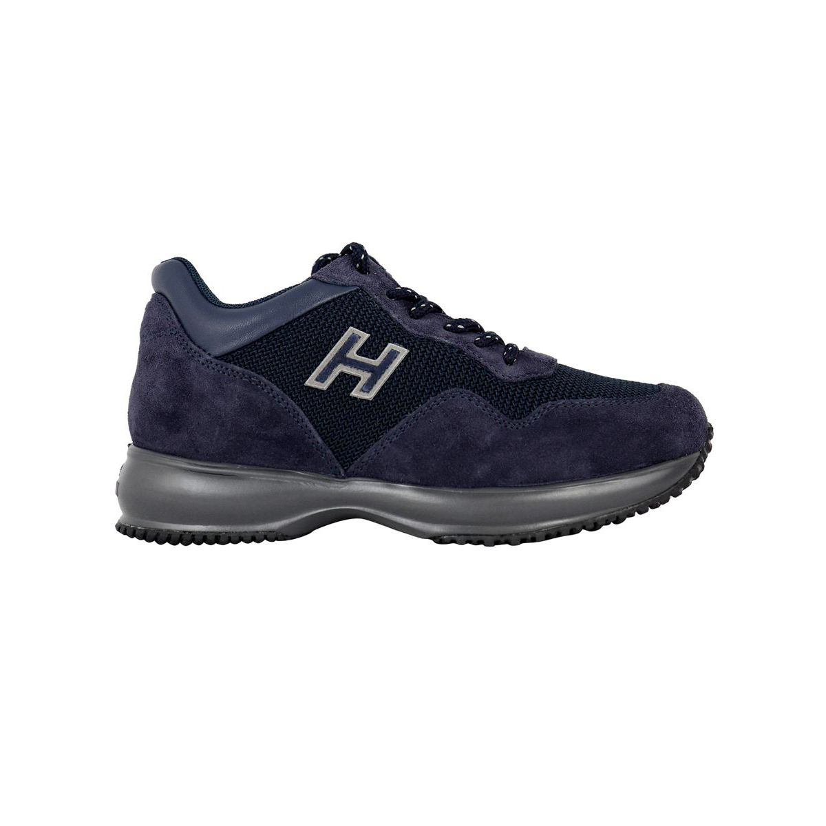INTERACTIVE sneakers with H and contrasting laces Blue Hogan