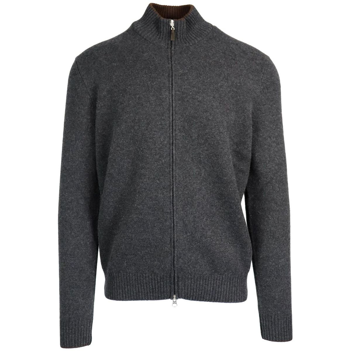 Cashmere cardigan with zip and patches Grey Gran Sasso