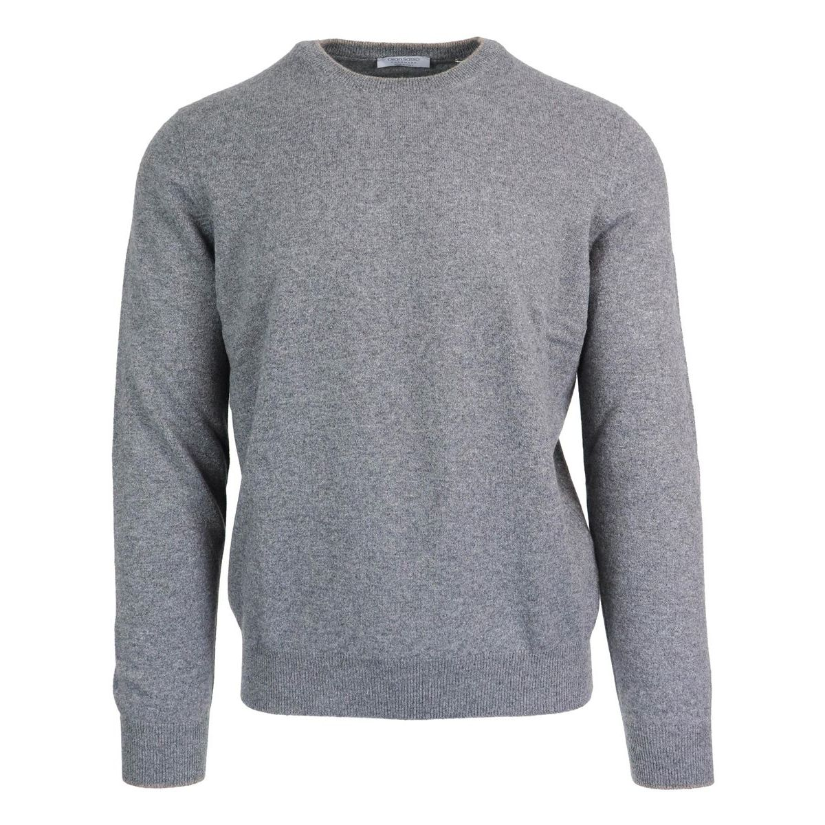 Cashmere crewneck pullover with patches Light grey Gran Sasso