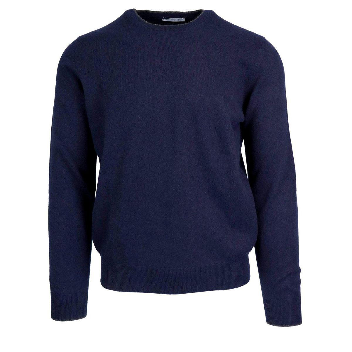 Cashmere crewneck pullover with patches Navy Gran Sasso