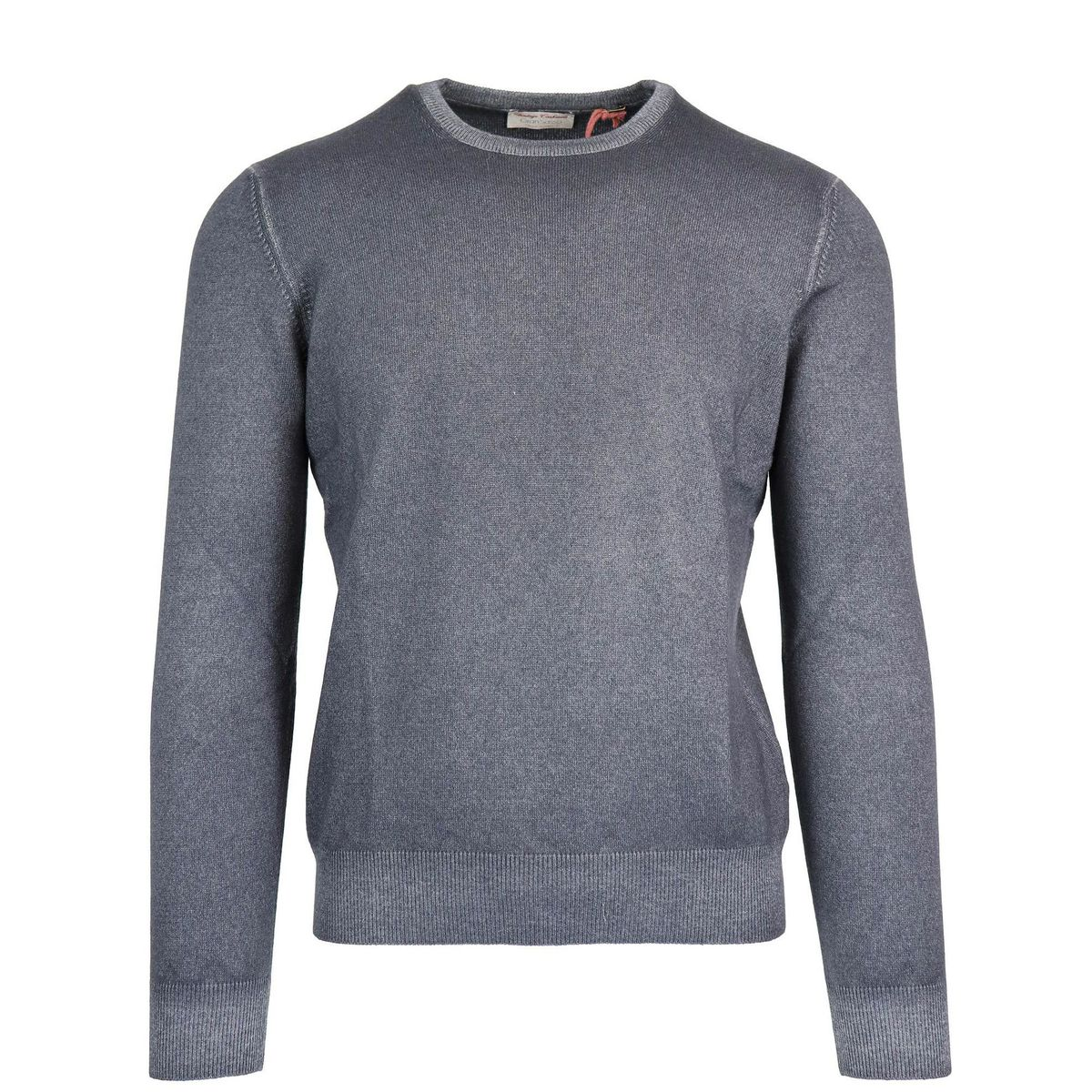 Crewneck pullover in cashmere with ribbed profiles Grey Gran Sasso