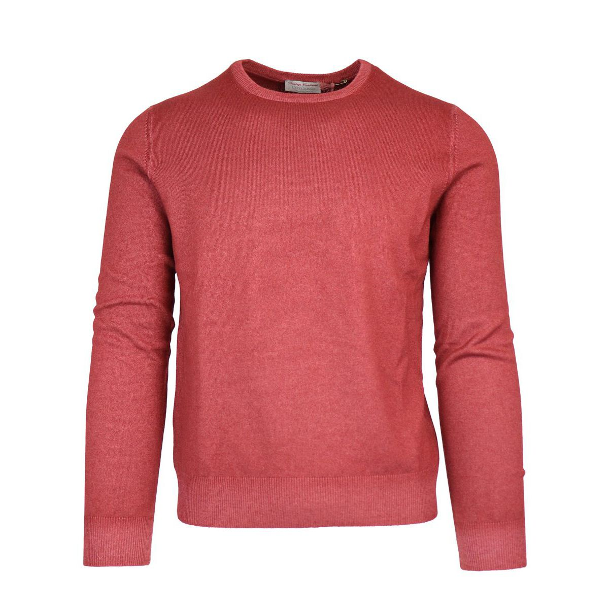 Crewneck pullover in cashmere with ribbed profiles Red Gran Sasso