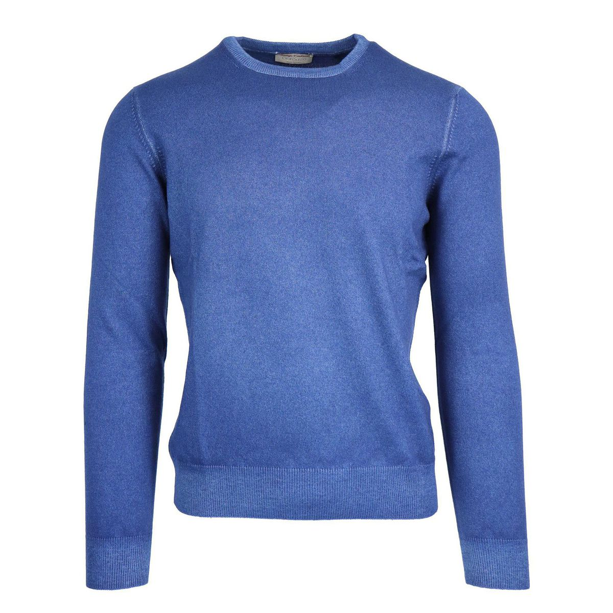 Crewneck pullover in cashmere with ribbed profiles Royal Gran Sasso