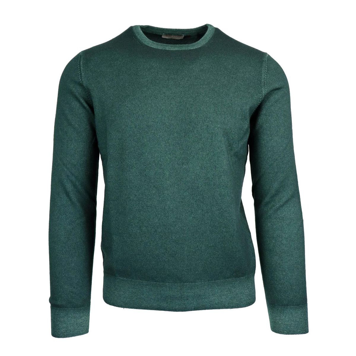 Crewneck pullover in cashmere with ribbed profiles Green Gran Sasso