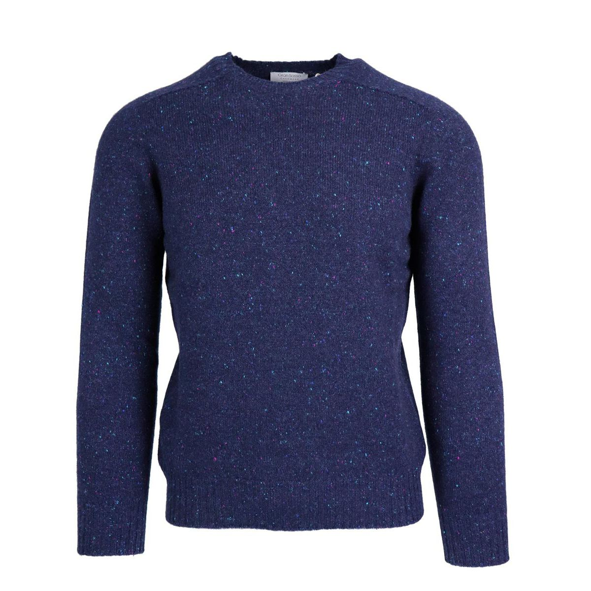 Crewneck pullover in cashmere with ribbed profiles Blue Gran Sasso