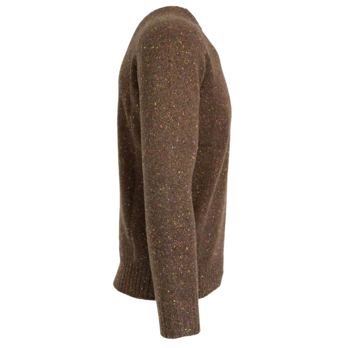 Crewneck pullover in cashmere with ribbed profiles Brown Gran Sasso