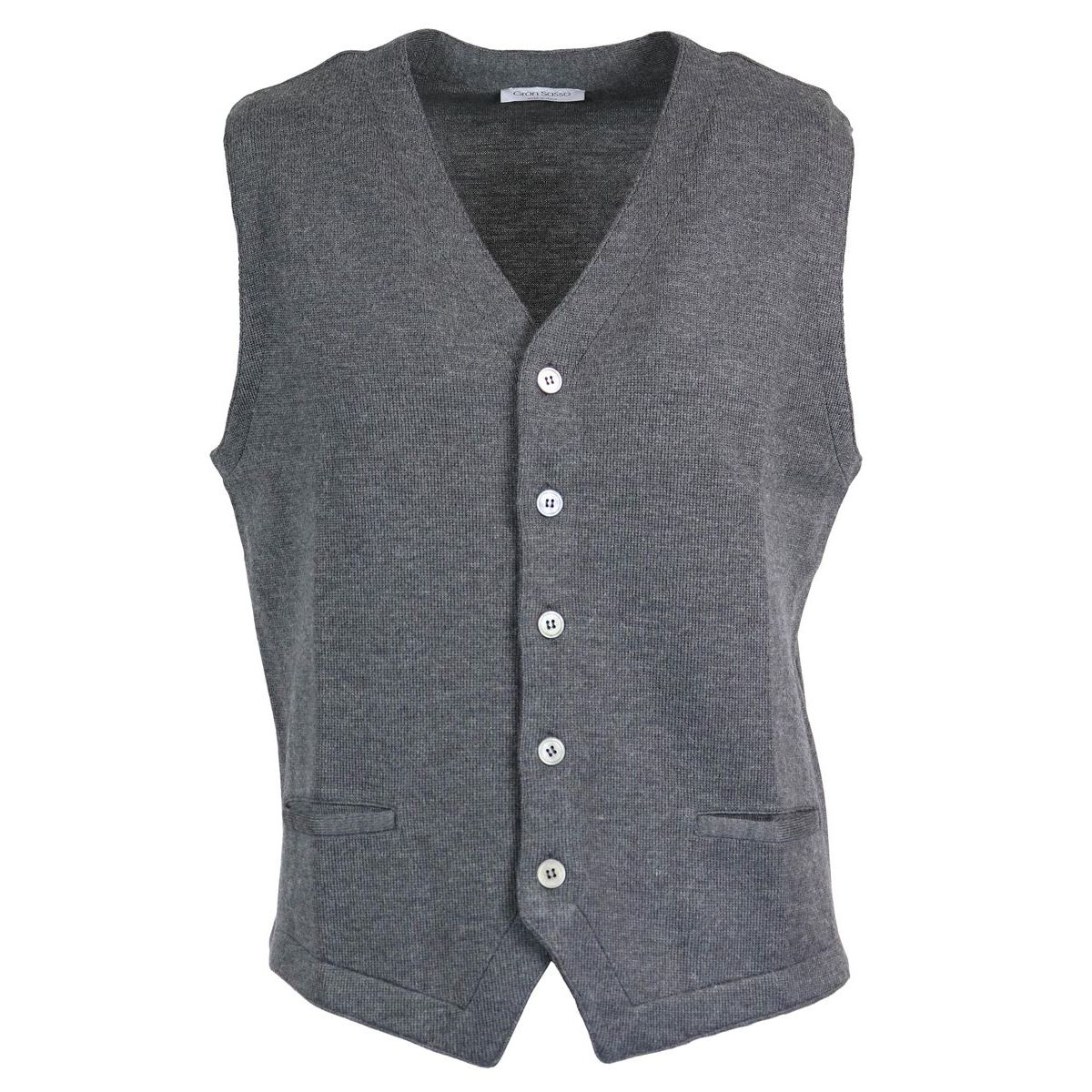 Pure wool gilet with buttons Anthracite Gran Sasso
