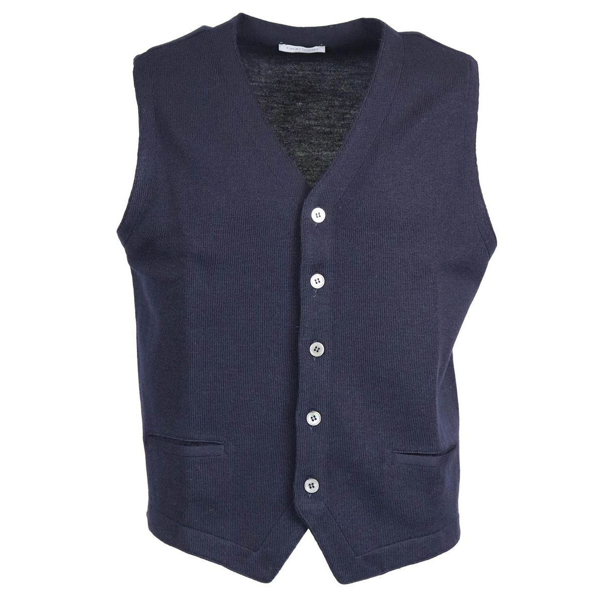 Pure wool gilet with buttons Navy Gran Sasso