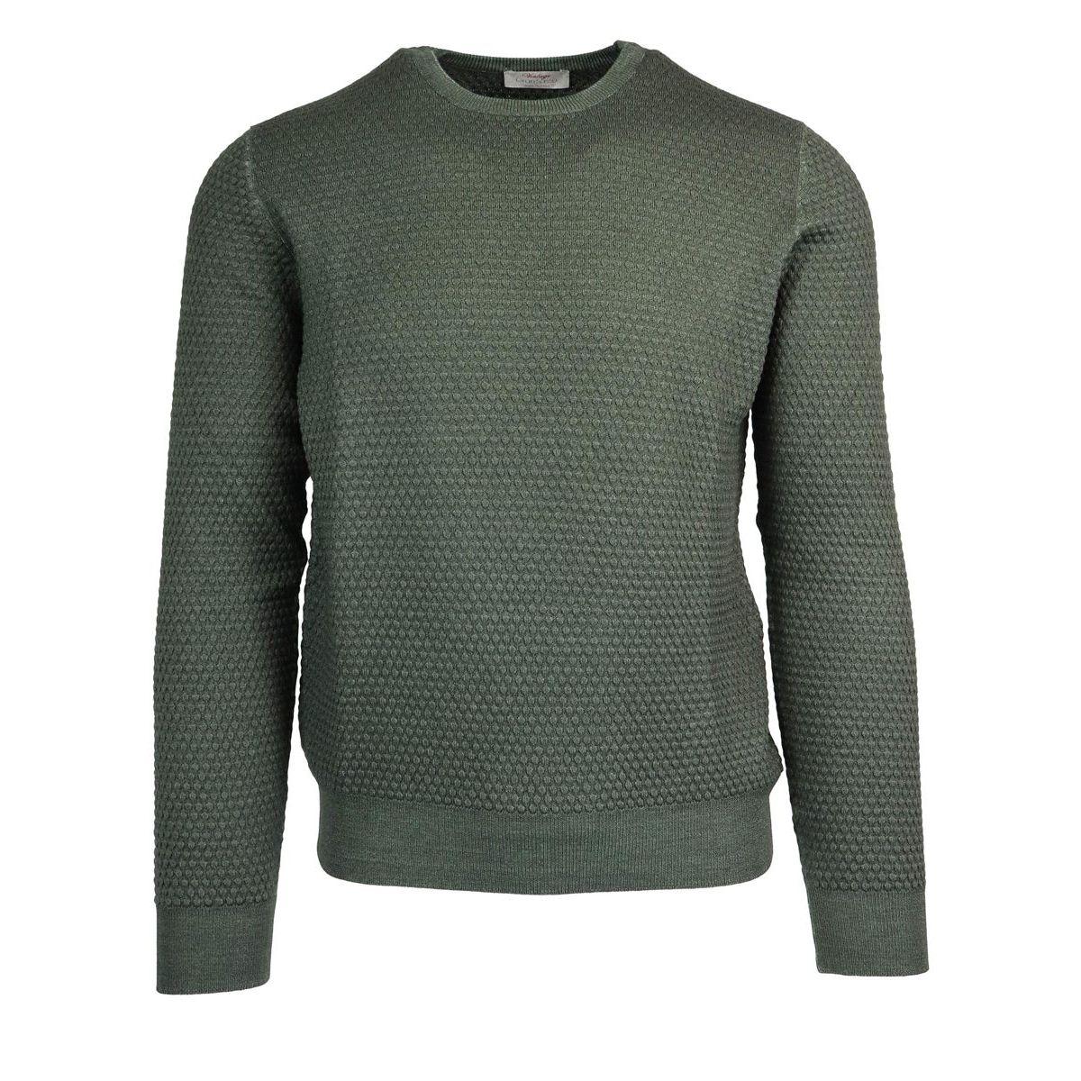Crewneck pure wool pullover Green Gran Sasso