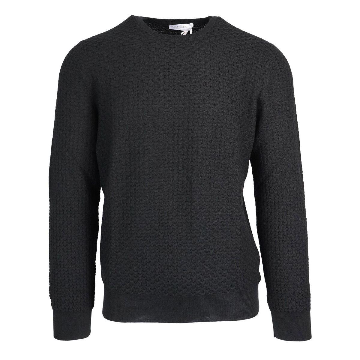 Crewneck wool pullover Black Gran Sasso