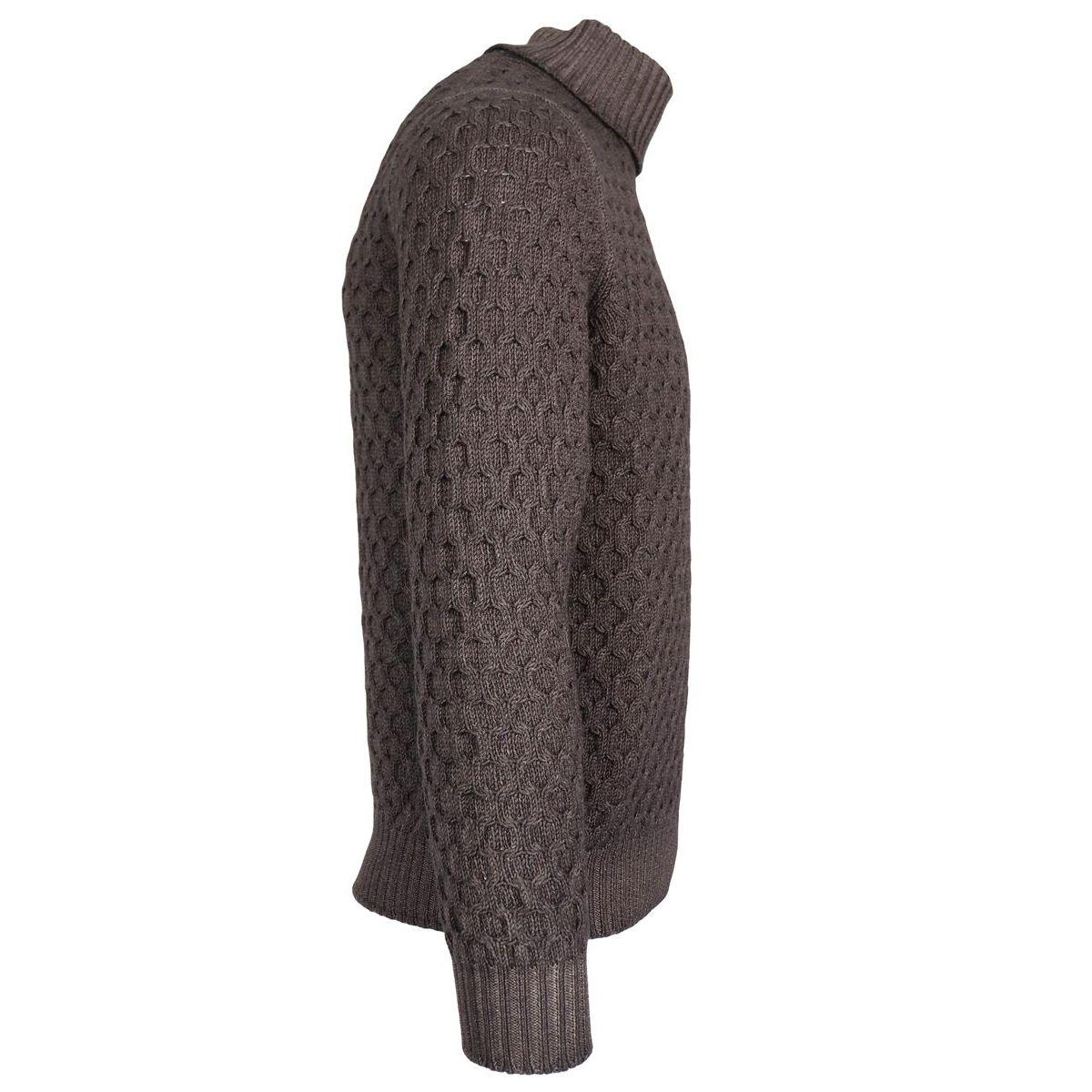 Turtleneck sweater in fancy wool Moro Gran Sasso