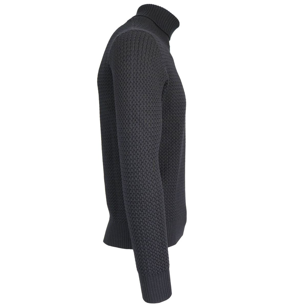 Cycling jersey in pure textured wool Black Gran Sasso