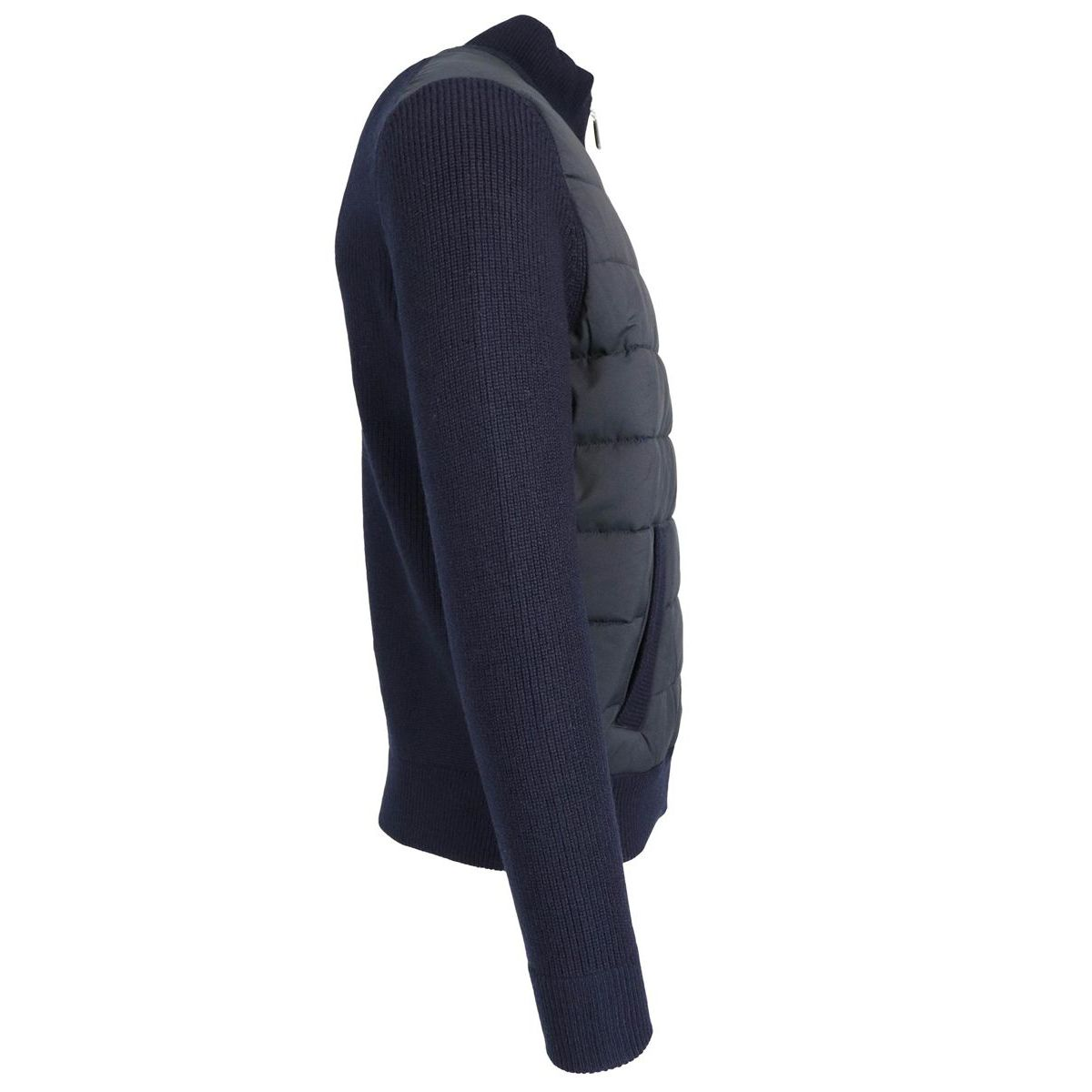Cashmere and nylon cardigan with zip Blue Gran Sasso