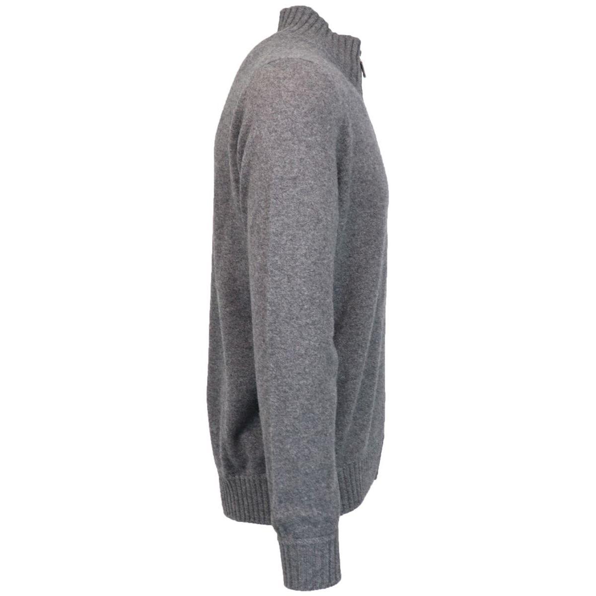 Full zip sweater in virgin wool Grey Gran Sasso