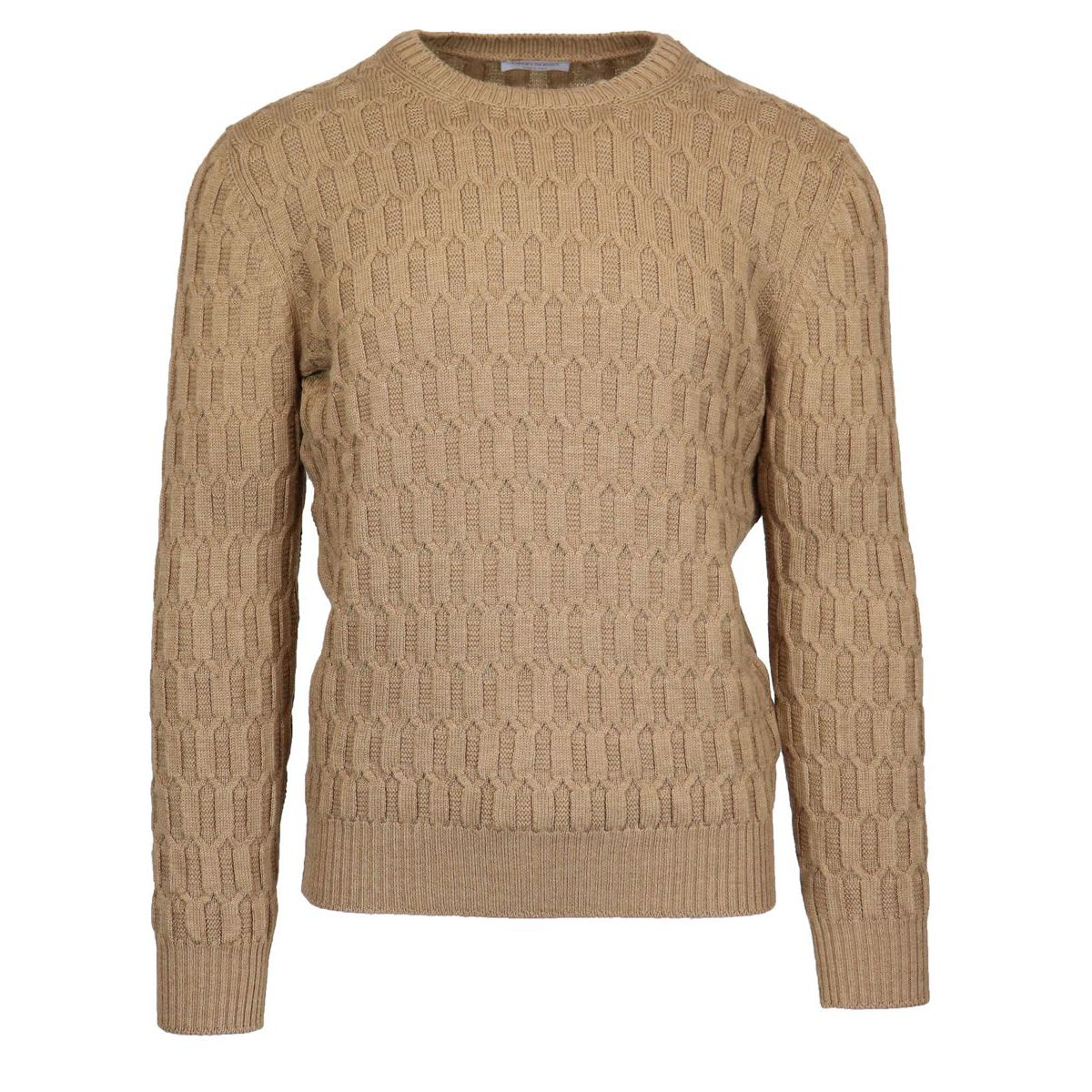 Crewneck wool crewneck pullover Camel Gran Sasso