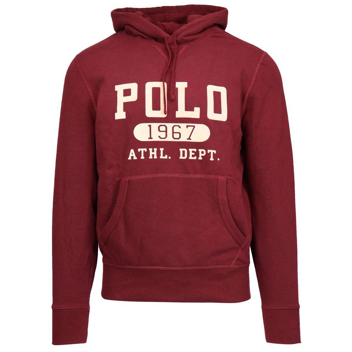 Cotton blend hooded sweatshirt Bordeaux Polo Ralph Lauren