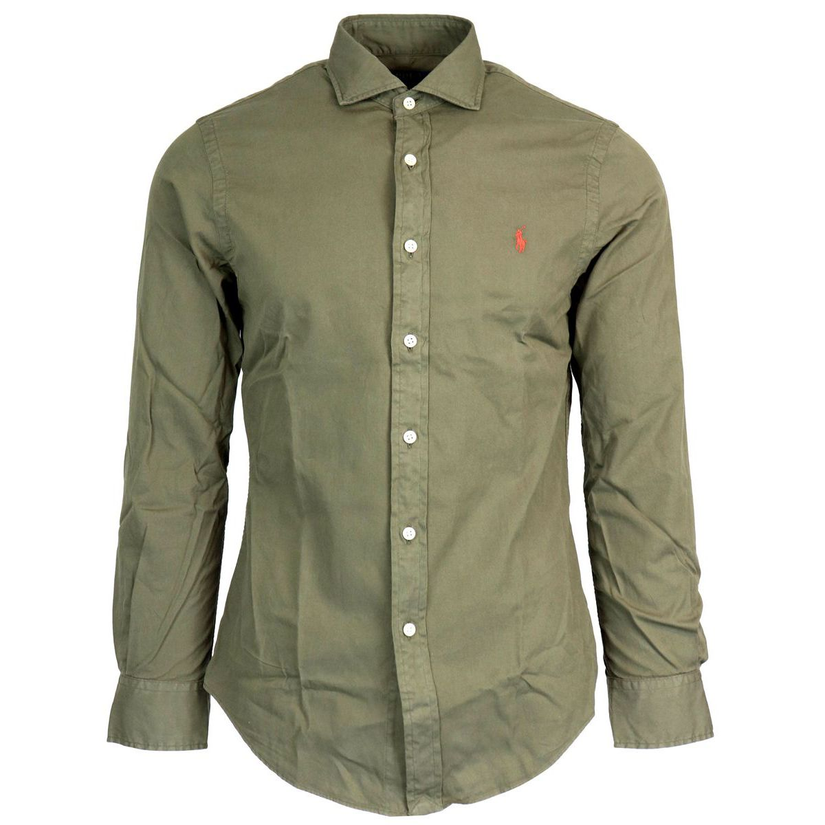 Slim cotton shirt with French collar Military Polo Ralph Lauren